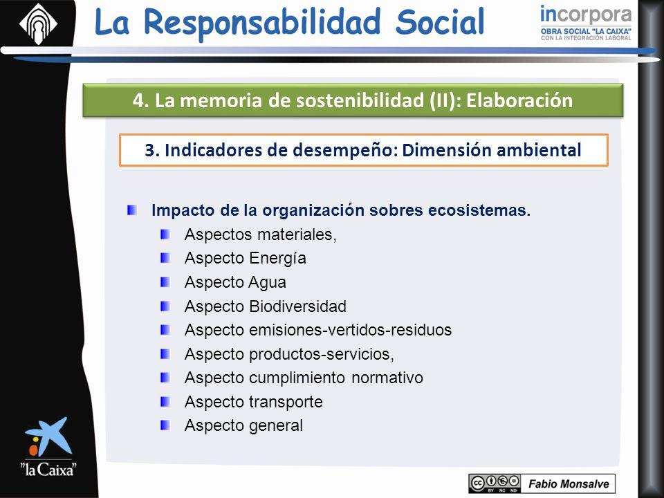 4. La memoria de sostenibilidad (II): Elaboración Impacto de la organización sobres ecosistemas. Aspectos materiales, Aspecto Energía Aspecto Agua Asp