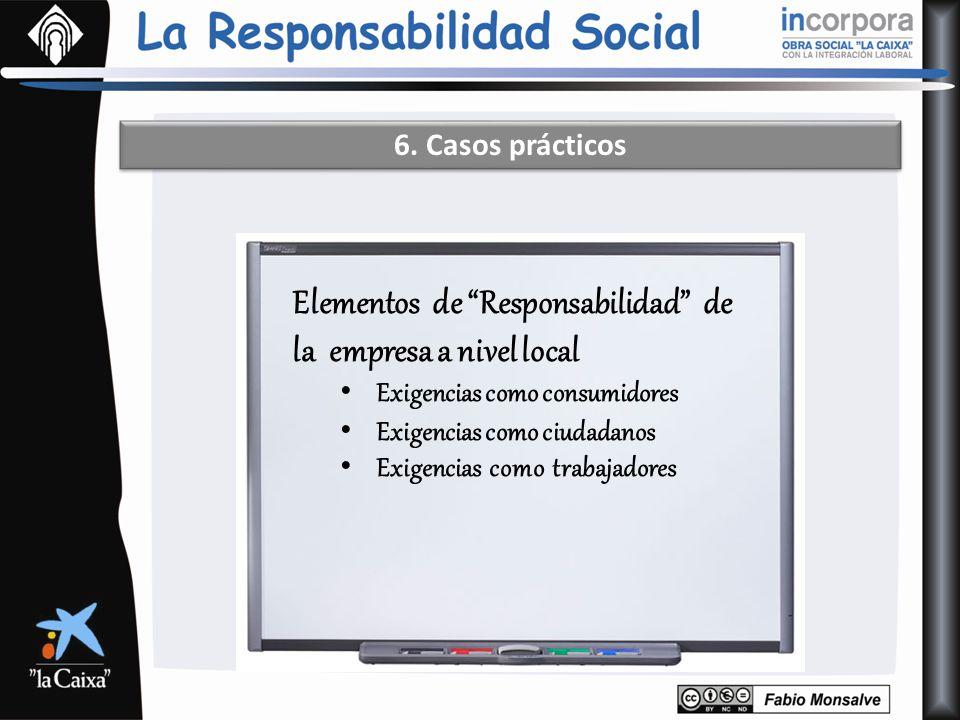 6. Casos prácticos Elementos de Responsabilidad de la empresa a nivel local Exigencias como consumidores Exigencias como ciudadanos Exigencias como tr