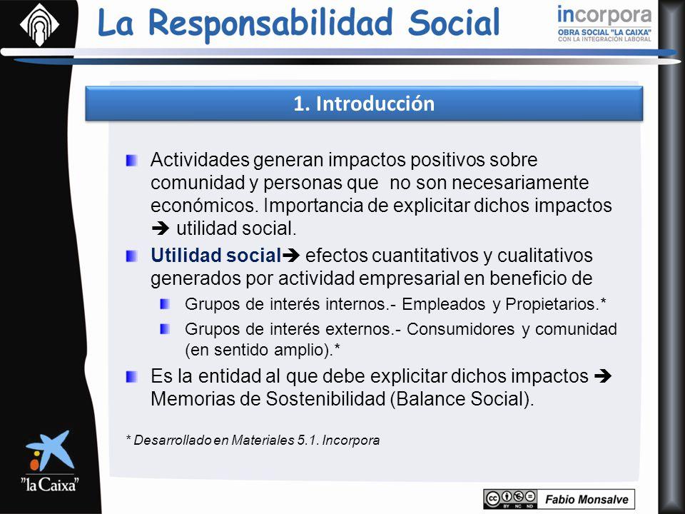 1. Introducción Actividades generan impactos positivos sobre comunidad y personas que no son necesariamente económicos. Importancia de explicitar dich