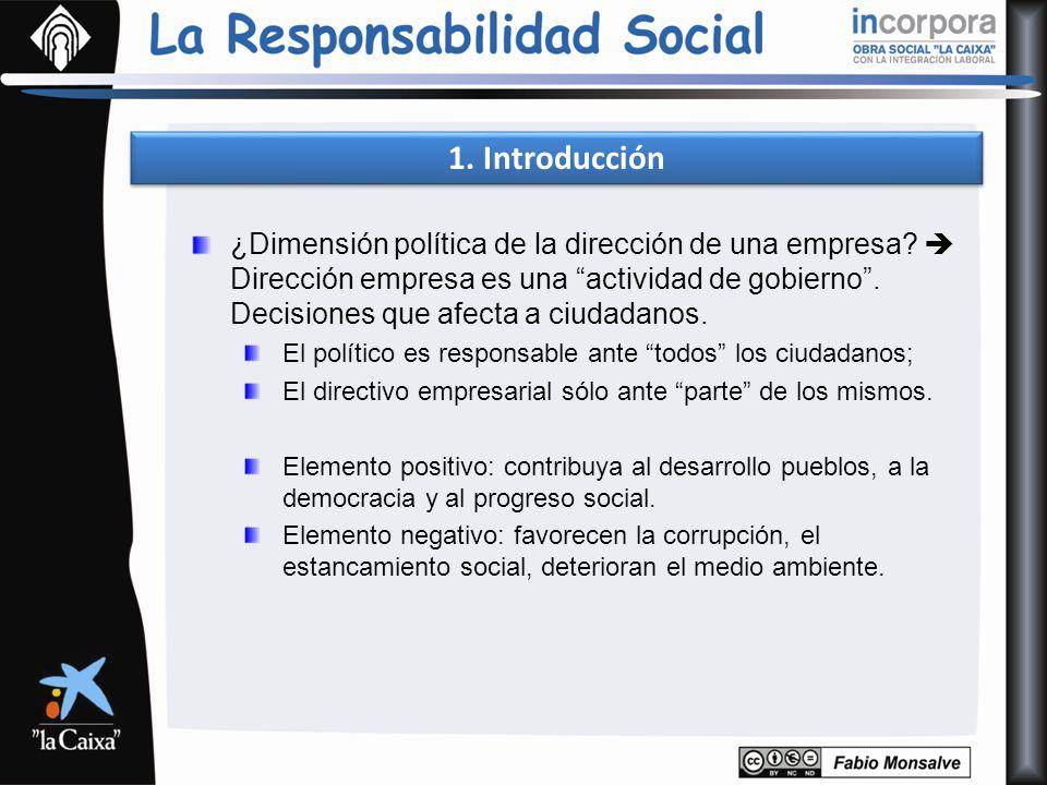 1. Introducción ¿Dimensión política de la dirección de una empresa? Dirección empresa es una actividad de gobierno. Decisiones que afecta a ciudadanos