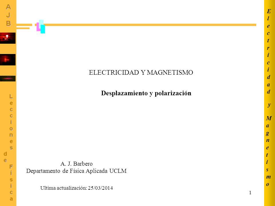 1 ELECTRICIDAD Y MAGNETISMO Desplazamiento y polarización MagnetismoMagnetismo ElectricidadElectricidad y Ultima actualización: 25/03/2014 A. J. Barbe