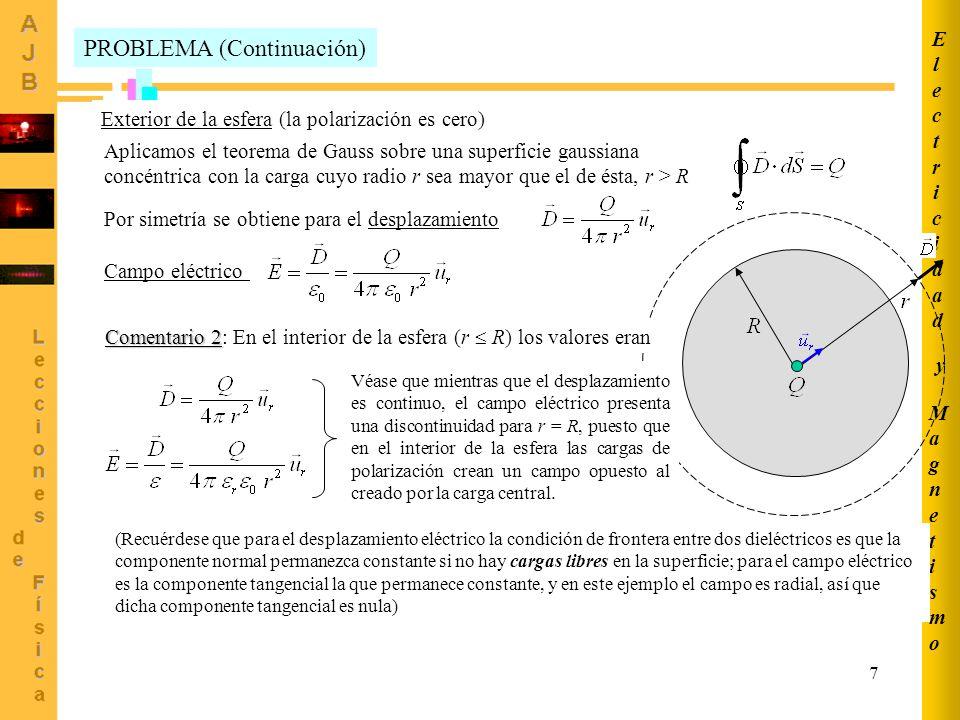 7 MagnetismoMagnetismo ElectricidadElectricidad y PROBLEMA (Continuación) Exterior de la esfera (la polarización es cero) Aplicamos el teorema de Gauss sobre una superficie gaussiana concéntrica con la carga cuyo radio r sea mayor que el de ésta, r > R Por simetría se obtiene para el desplazamiento Campo eléctrico Comentario 2 Comentario 2: En el interior de la esfera (r R) los valores eran Véase que mientras que el desplazamiento es continuo, el campo eléctrico presenta una discontinuidad para r = R, puesto que en el interior de la esfera las cargas de polarización crean un campo opuesto al creado por la carga central.