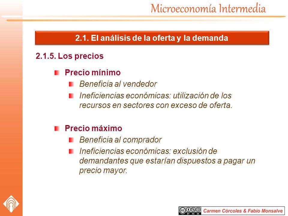2.1. El análisis de la oferta y la demanda 2.1.5. Los precios Precio mínimo Beneficia al vendedor Ineficiencias económicas: utilización de los recurso
