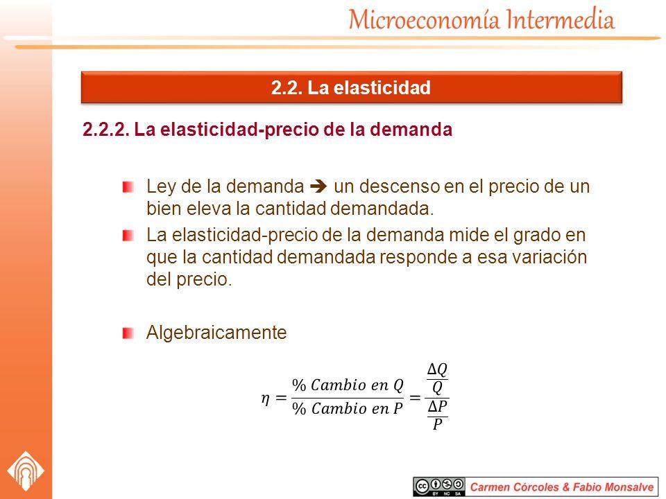 2.2. La elasticidad 2.2.2. La elasticidad-precio de la demanda Ley de la demanda un descenso en el precio de un bien eleva la cantidad demandada. La e