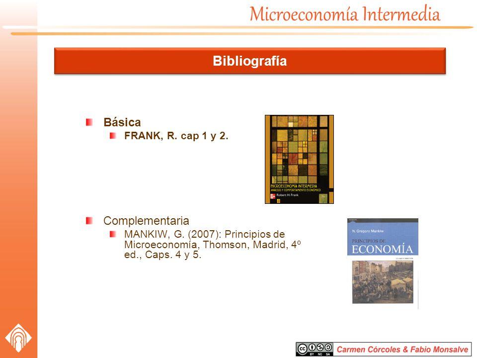 Bibliografía Básica FRANK, R. cap 1 y 2. Complementaria MANKIW, G. (2007): Principios de Microeconomía, Thomson, Madrid, 4º ed., Caps. 4 y 5.