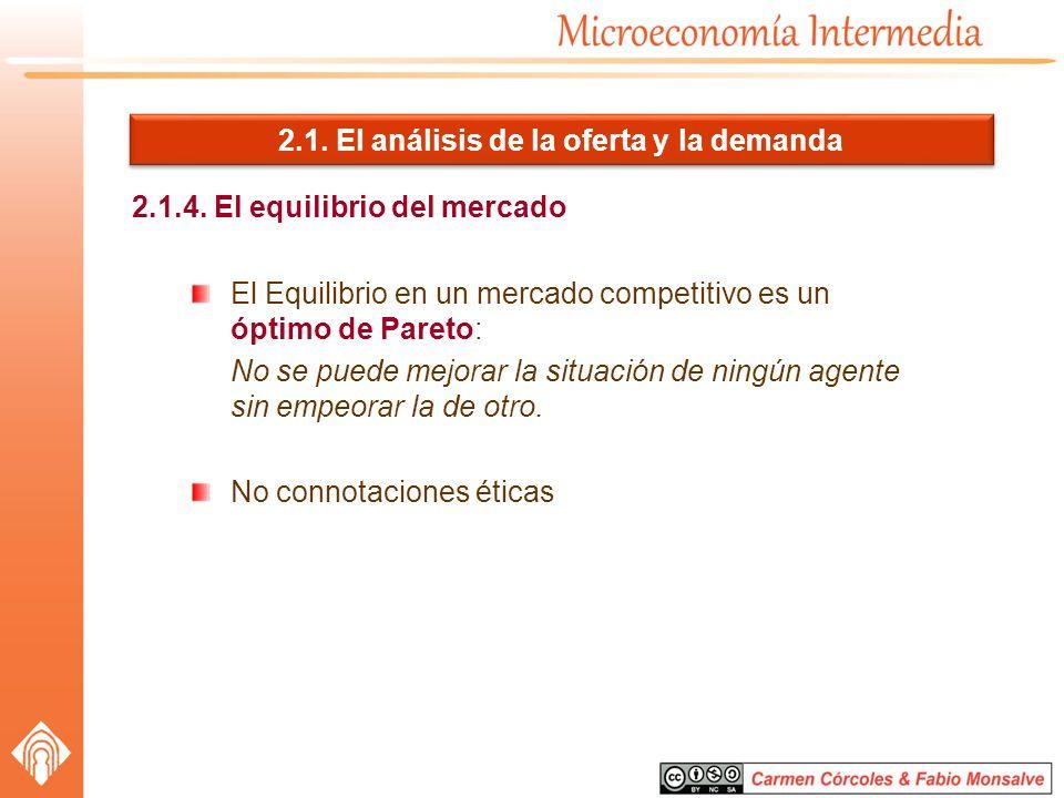 2.1. El análisis de la oferta y la demanda 2.1.4. El equilibrio del mercado El Equilibrio en un mercado competitivo es un óptimo de Pareto: No se pued