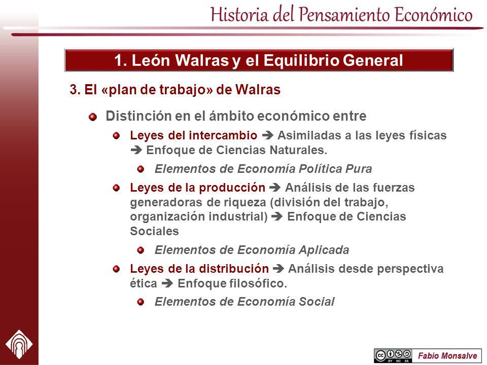1. León Walras y el Equilibrio General Distinción en el ámbito económico entre Leyes del intercambio Asimiladas a las leyes físicas Enfoque de Ciencia