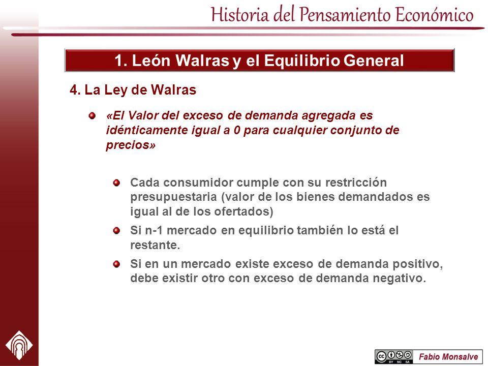 1. León Walras y el Equilibrio General «El Valor del exceso de demanda agregada es idénticamente igual a 0 para cualquier conjunto de precios» Cada co