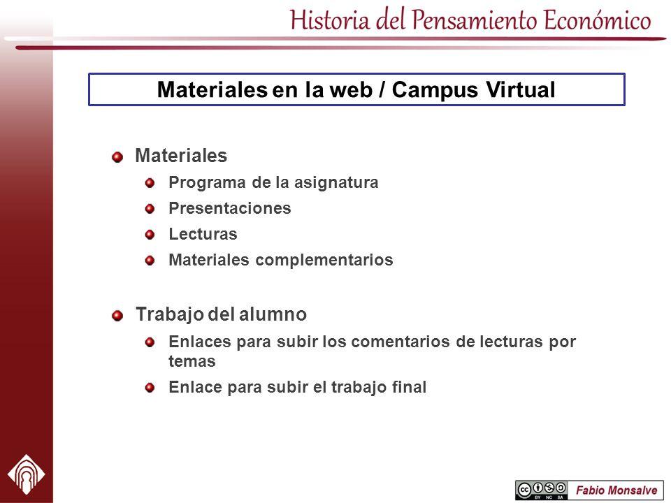 Materiales en la web / Campus Virtual Materiales Programa de la asignatura Presentaciones Lecturas Materiales complementarios Trabajo del alumno Enlac