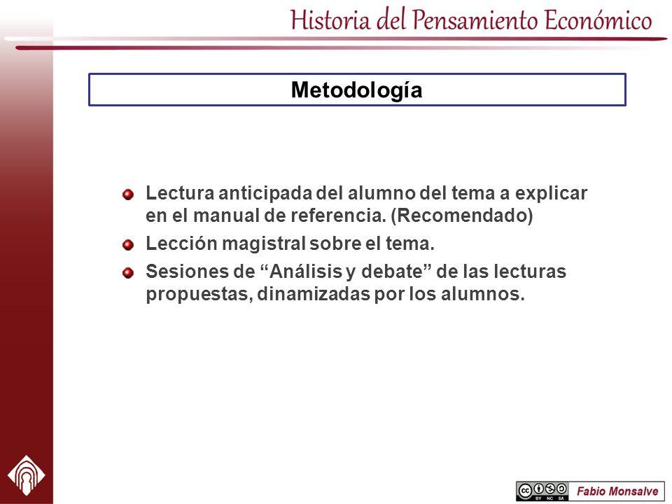 Metodología Lectura anticipada del alumno del tema a explicar en el manual de referencia. (Recomendado) Lección magistral sobre el tema. Sesiones de A