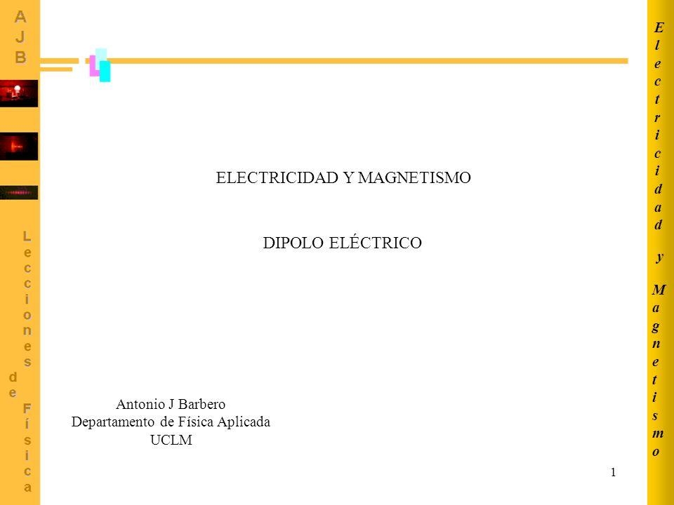 1 DIPOLO ELÉCTRICO MagnetismoMagnetismo ElectricidadElectricidad y Antonio J Barbero Departamento de Física Aplicada UCLM ELECTRICIDAD Y MAGNETISMO