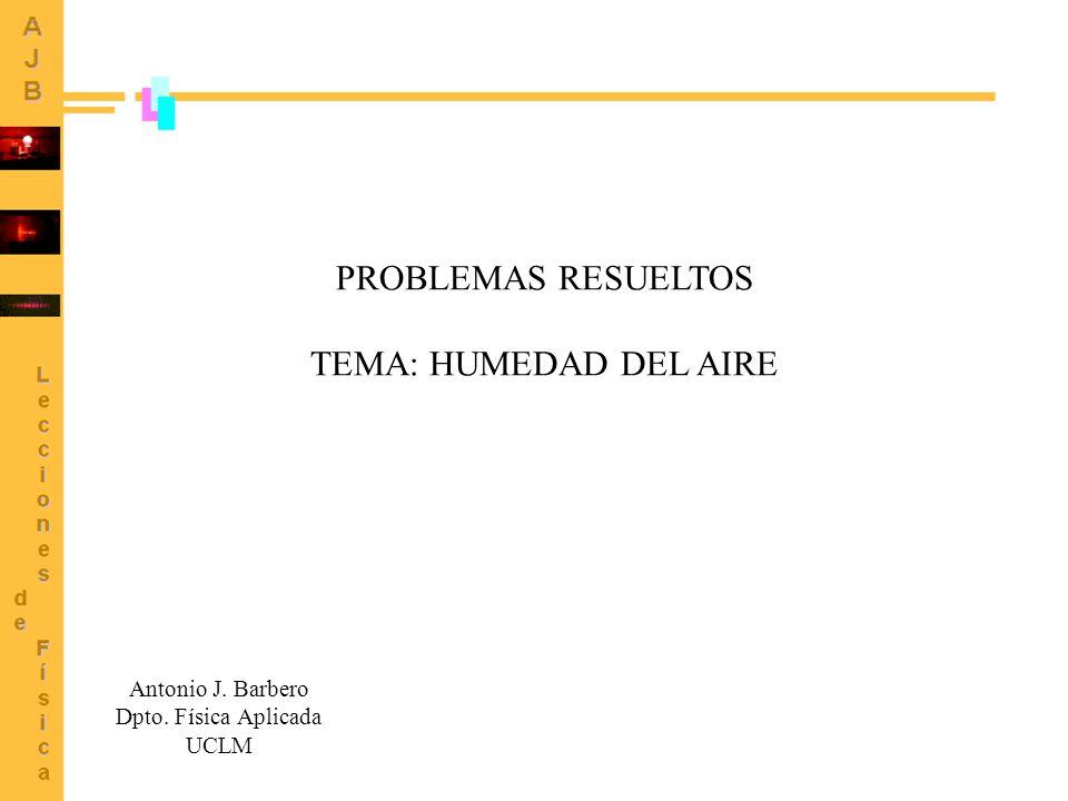 PROBLEMAS RESUELTOS TEMA: HUMEDAD DEL AIRE Antonio J. Barbero Dpto. Física Aplicada UCLM