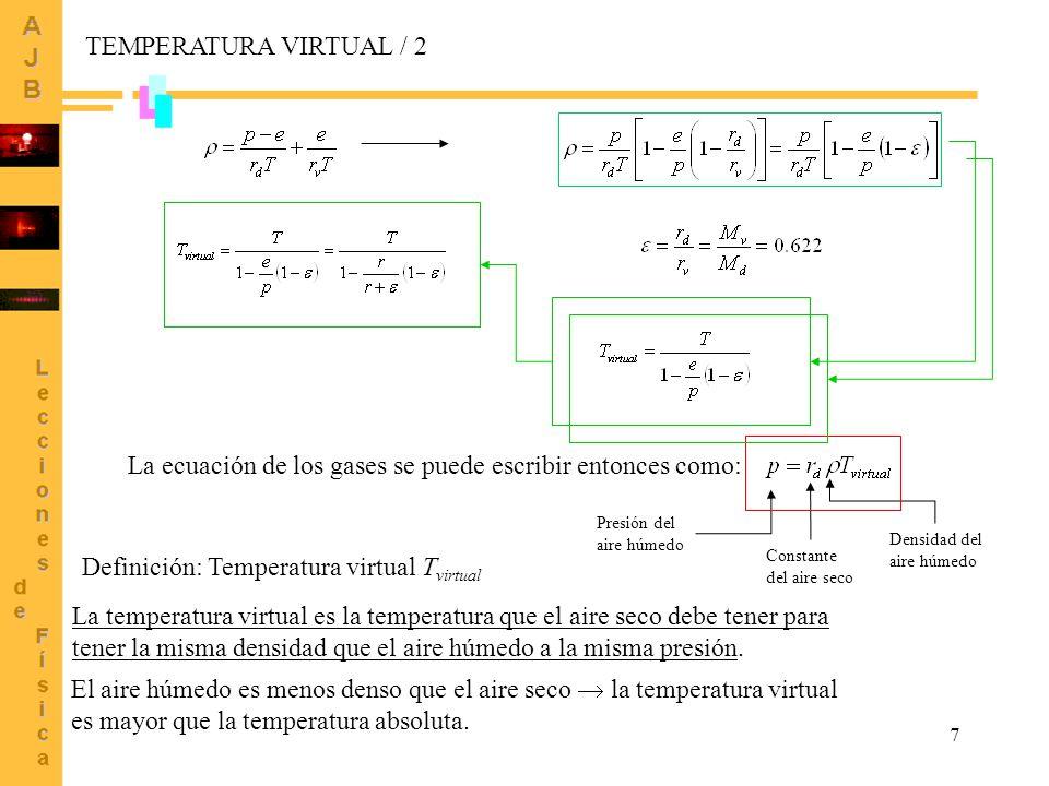 7 Definición: Temperatura virtual T virtual La ecuación de los gases se puede escribir entonces como: La temperatura virtual es la temperatura que el