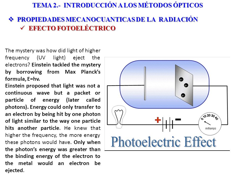 PROPIEDADES MECANOCUANTICAS DE LA RADIACIÓN PROPIEDADES MECANOCUANTICAS DE LA RADIACIÓN EFECTO FOTOELÉCTRICO EFECTO FOTOELÉCTRICO TEMA 2.- INTRODUCCIÓN A LOS MÉTODOS ÓPTICOS The mystery was how did light of higher frequency (UV light) eject the electrons.