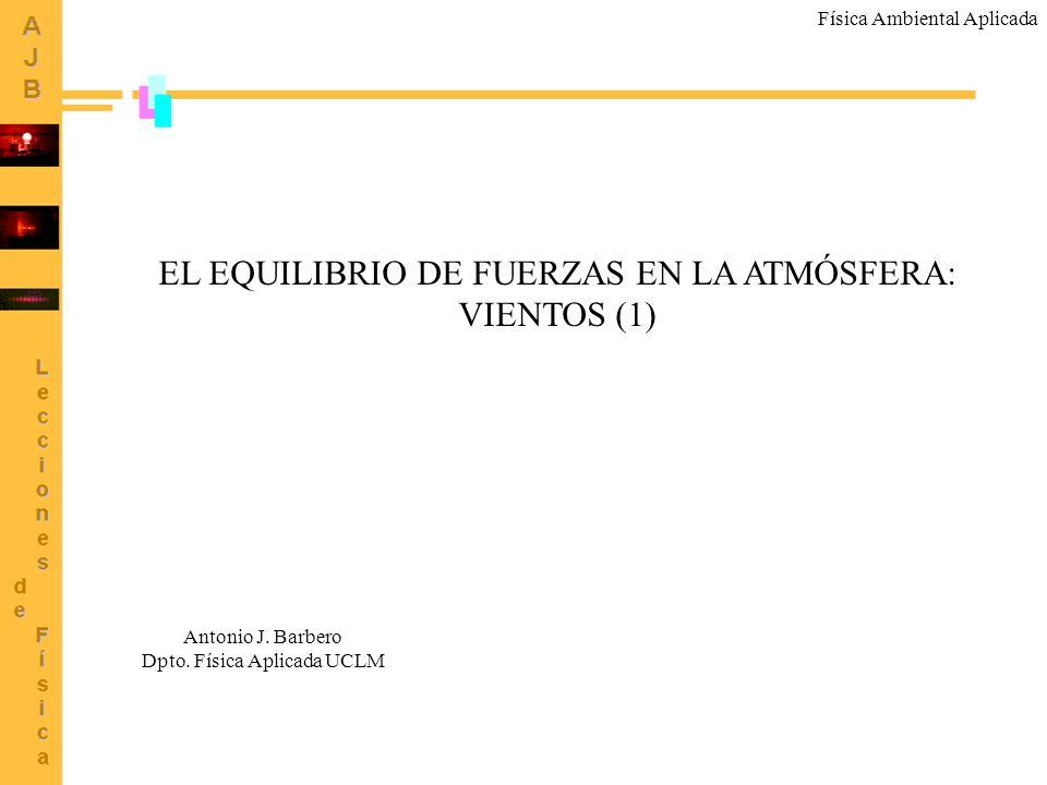 EL EQUILIBRIO DE FUERZAS EN LA ATMÓSFERA: VIENTOS (1) Antonio J. Barbero Dpto. Física Aplicada UCLM Física Ambiental Aplicada