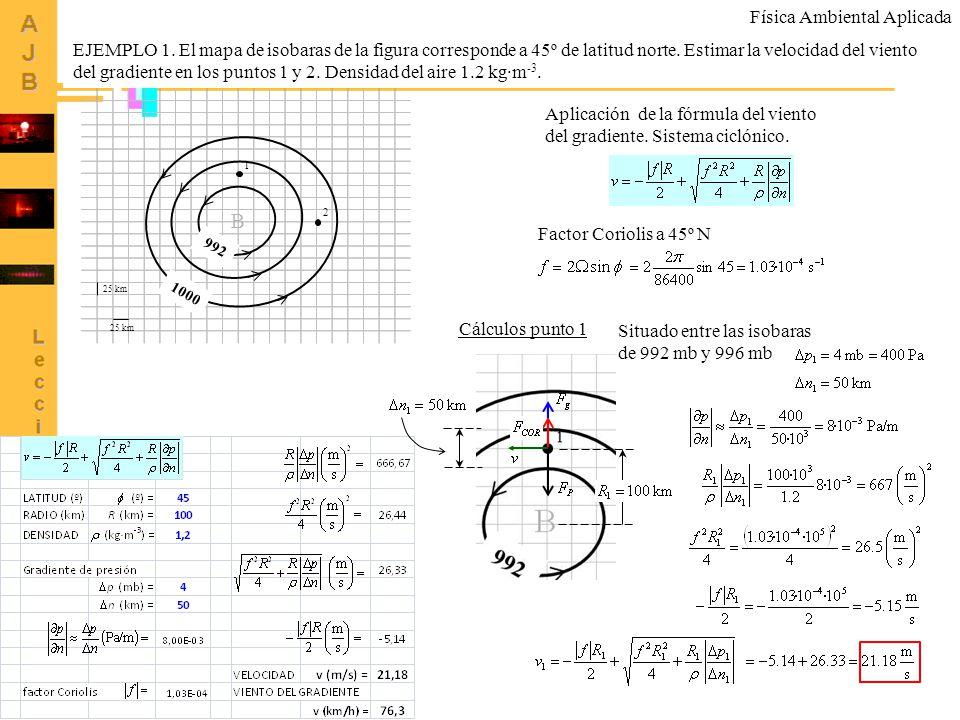 5 B 992 1000 25 km 1 2 EJEMPLO 1. El mapa de isobaras de la figura corresponde a 45º de latitud norte. Estimar la velocidad del viento del gradiente e