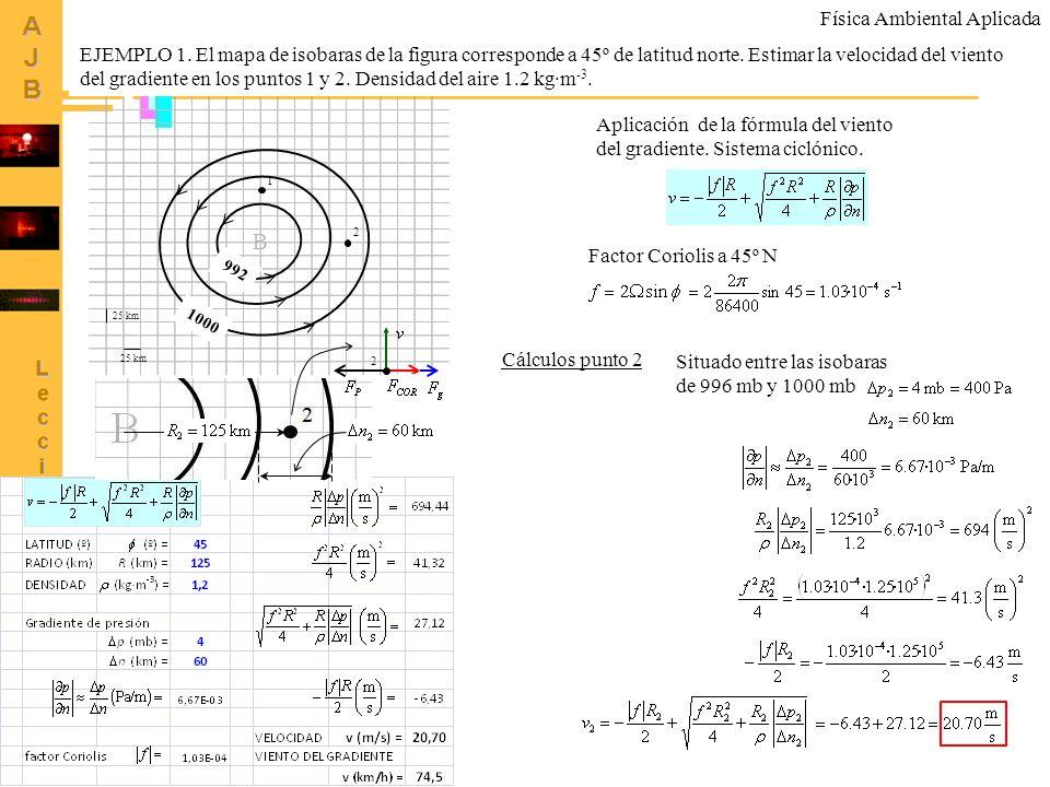 66 B 992 1000 25 km 1 2 EJEMPLO 1. El mapa de isobaras de la figura corresponde a 45º de latitud norte. Estimar la velocidad del viento del gradiente