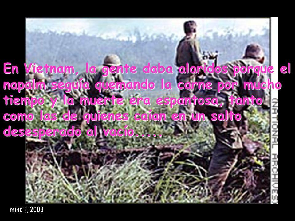 En Vietnam, la gente daba alaridos porque el napalm seguía quemando la carne por mucho tiempo y la muerte era espantosa, tanto como las de quienes caían en un salto desesperado al vacío.....