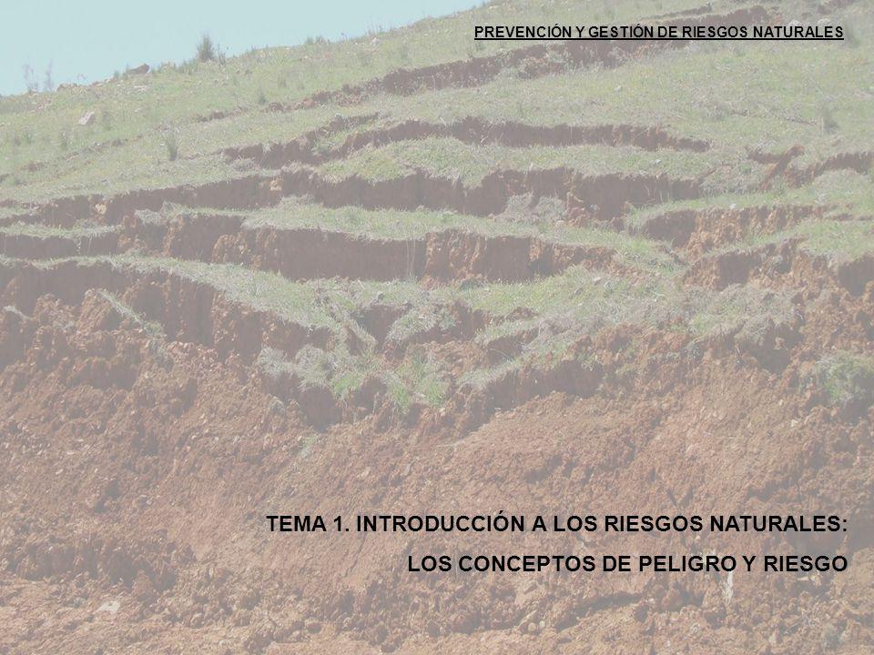 PREVENCIÓN Y GESTIÓN DE RIESGOS NATURALES TEMA 1. INTRODUCCIÓN A LOS RIESGOS NATURALES: LOS CONCEPTOS DE PELIGRO Y RIESGO