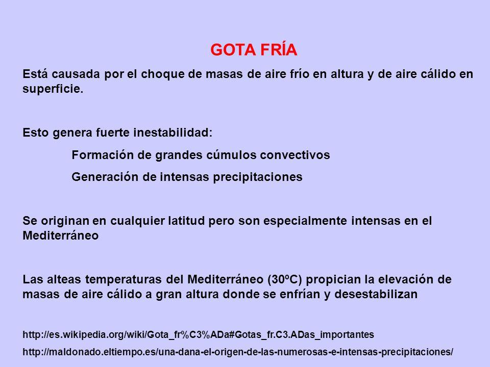 GOTA FRÍA Está causada por el choque de masas de aire frío en altura y de aire cálido en superficie. Esto genera fuerte inestabilidad: Formación de gr