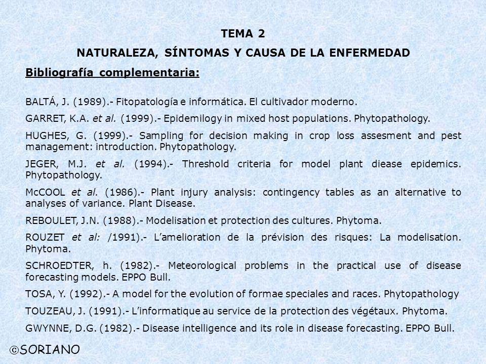 TEMA 2 NATURALEZA, SÍNTOMAS Y CAUSA DE LA ENFERMEDAD Bibliografía complementaria: BALTÁ, J. (1989).- Fitopatología e informática. El cultivador modern