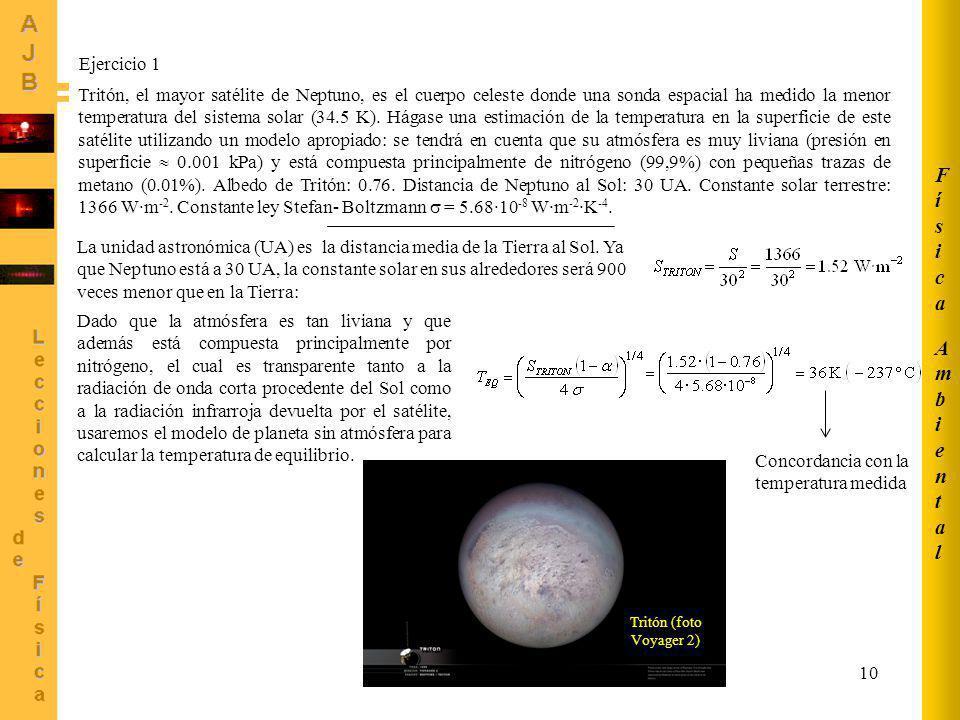 AmbientalAmbiental FísicaFísica 10 Tritón, el mayor satélite de Neptuno, es el cuerpo celeste donde una sonda espacial ha medido la menor temperatura
