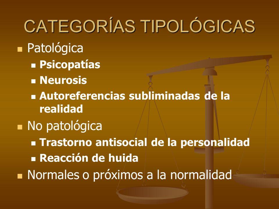 CATEGORÍAS TIPOLÓGICAS Patológica Psicopatías Neurosis Autoreferencias subliminadas de la realidad No patológica Trastorno antisocial de la personalid