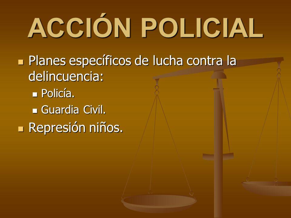 ACCIÓN POLICIAL Planes específicos de lucha contra la delincuencia: Planes específicos de lucha contra la delincuencia: Policía. Policía. Guardia Civi