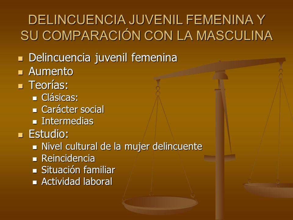 DELINCUENCIA JUVENIL FEMENINA Y SU COMPARACIÓN CON LA MASCULINA Delincuencia juvenil femenina Delincuencia juvenil femenina Aumento Aumento Teorías: T