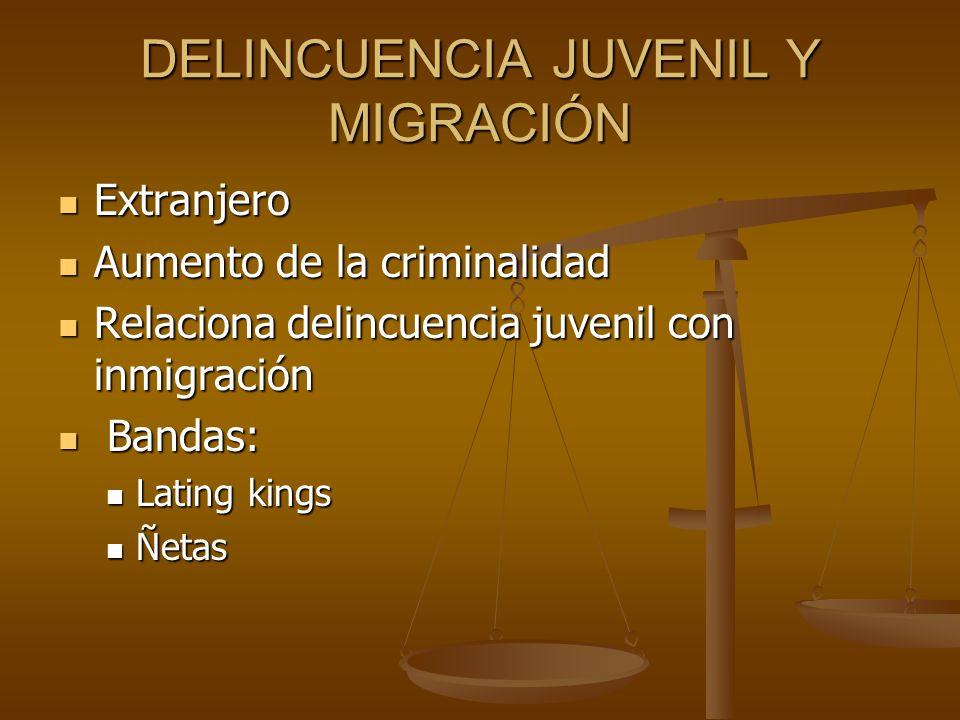 DELINCUENCIA JUVENIL Y MIGRACIÓN Extranjero Extranjero Aumento de la criminalidad Aumento de la criminalidad Relaciona delincuencia juvenil con inmigr