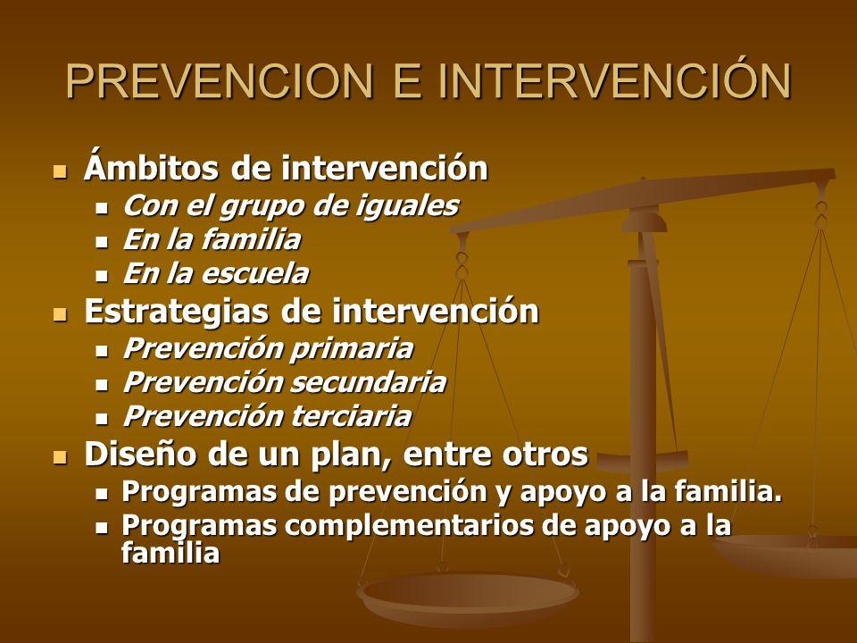 PREVENCION E INTERVENCIÓN Ámbitos de intervención Ámbitos de intervención Con el grupo de iguales Con el grupo de iguales En la familia En la familia