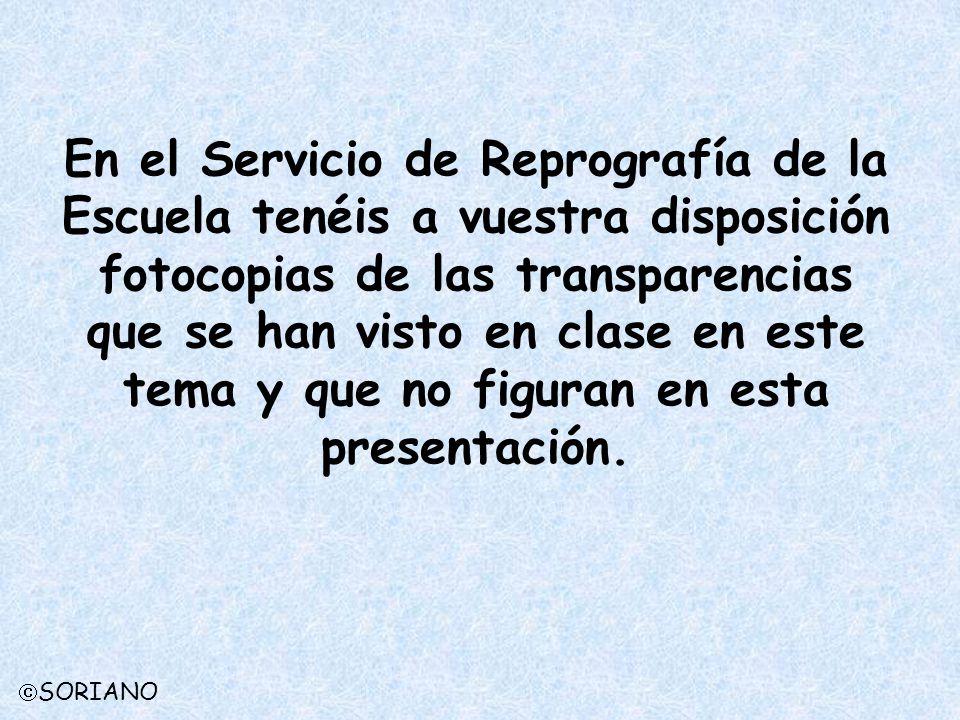 En el Servicio de Reprografía de la Escuela tenéis a vuestra disposición fotocopias de las transparencias que se han visto en clase en este tema y que
