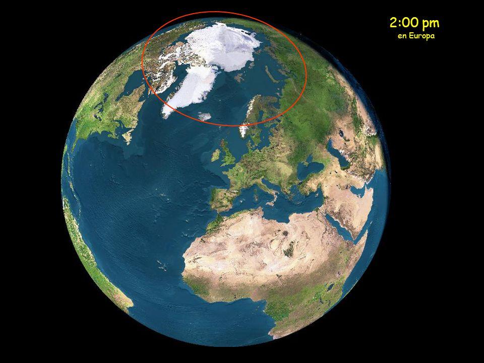 Media Noche en Europa El sol de media noche está ahora sobre la parte norte de Escandinavia.