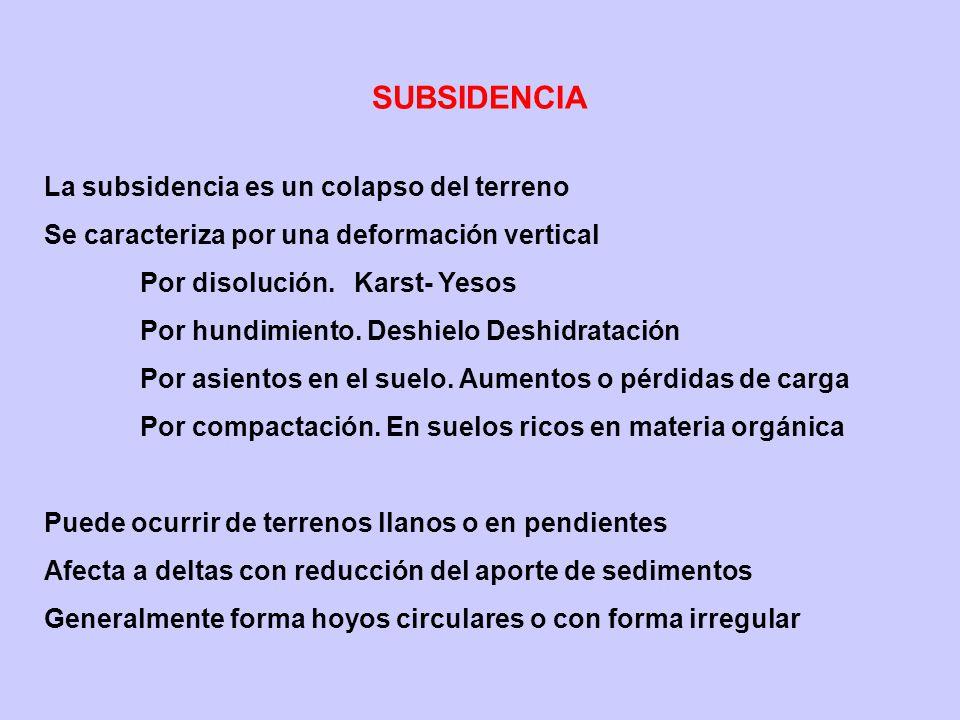 SUBSIDENCIA La subsidencia es un colapso del terreno Se caracteriza por una deformación vertical Por disolución. Karst- Yesos Por hundimiento. Deshiel