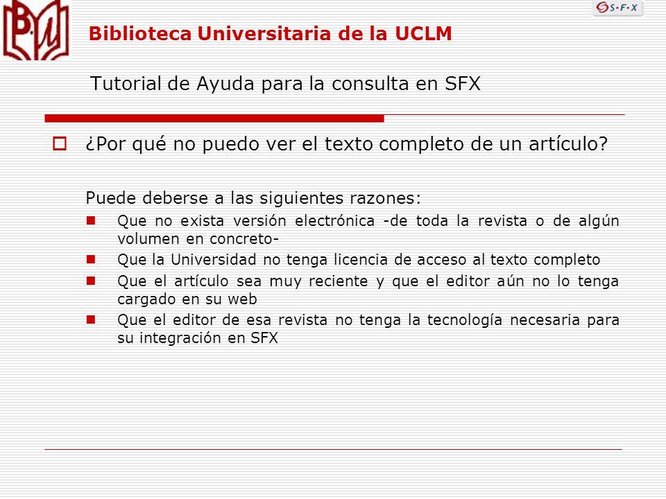 Tutorial de Ayuda para la consulta en SFX ¿Por qué no puedo ver el texto completo de un artículo.