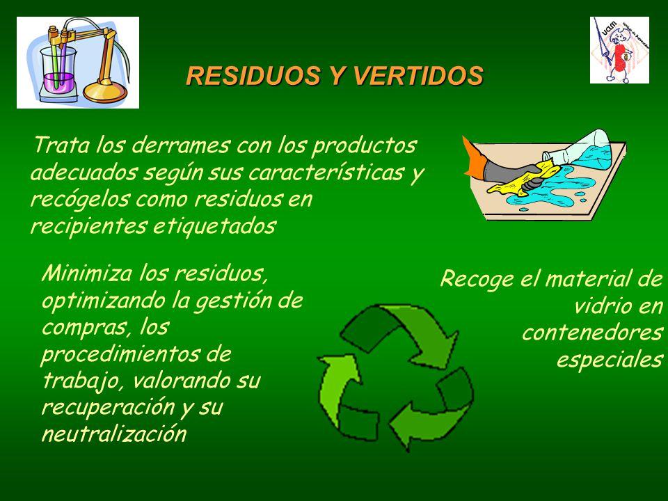 Recoge el material de vidrio en contenedores especiales Trata los derrames con los productos adecuados según sus características y recógelos como residuos en recipientes etiquetados Minimiza los residuos, optimizando la gestión de compras, los procedimientos de trabajo, valorando su recuperación y su neutralización RESIDUOS Y VERTIDOS