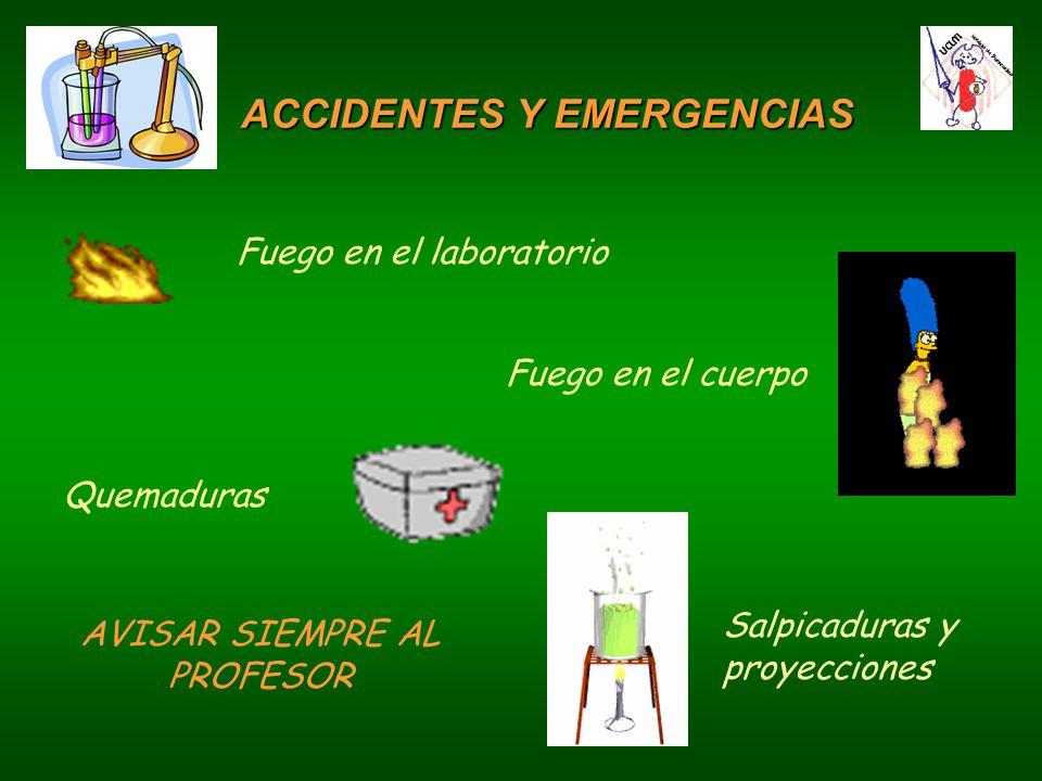 ACCIDENTES Y EMERGENCIAS Fuego en el laboratorio Fuego en el cuerpo Quemaduras Salpicaduras y proyecciones AVISAR SIEMPRE AL PROFESOR