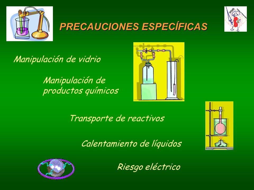 Manipulación de vidrio Manipulación de productos químicos Transporte de reactivos Calentamiento de líquidos Riesgo eléctrico PRECAUCIONES ESPECÍFICAS