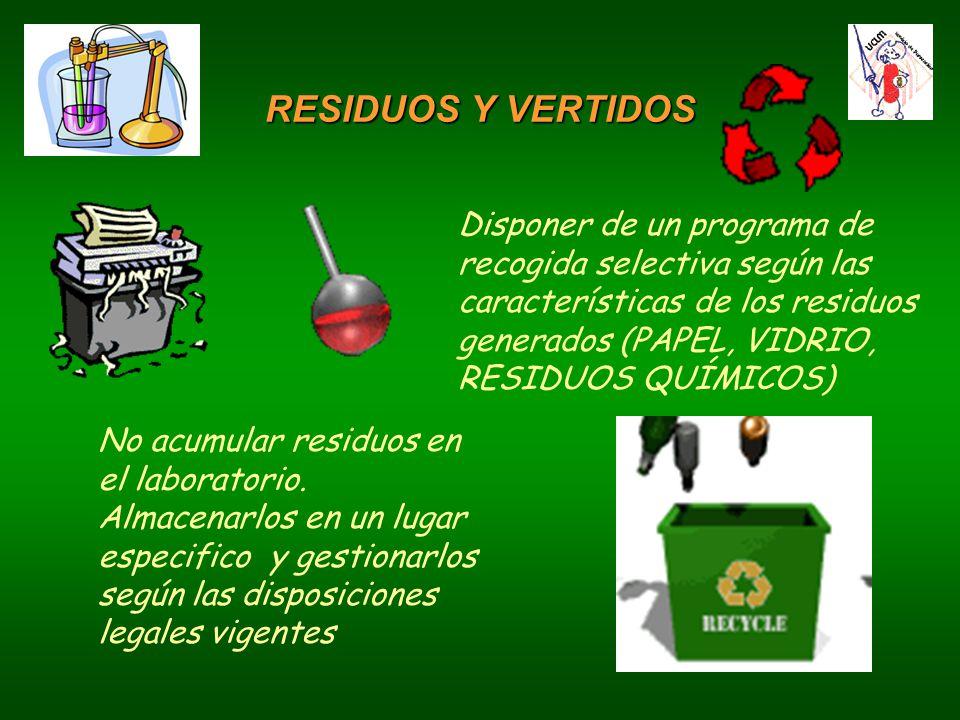 RESIDUOS Y VERTIDOS Disponer de un programa de recogida selectiva según las características de los residuos generados (PAPEL, VIDRIO, RESIDUOS QUÍMICOS) No acumular residuos en el laboratorio.