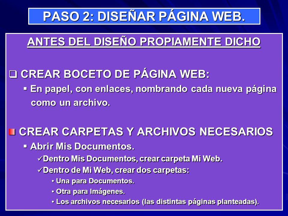 PASO 2: DISEÑAR PÁGINA WEB. ANTES DEL DISEÑO PROPIAMENTE DICHO CREAR BOCETO DE PÁGINA WEB: CREAR BOCETO DE PÁGINA WEB: En papel, con enlaces, nombrand