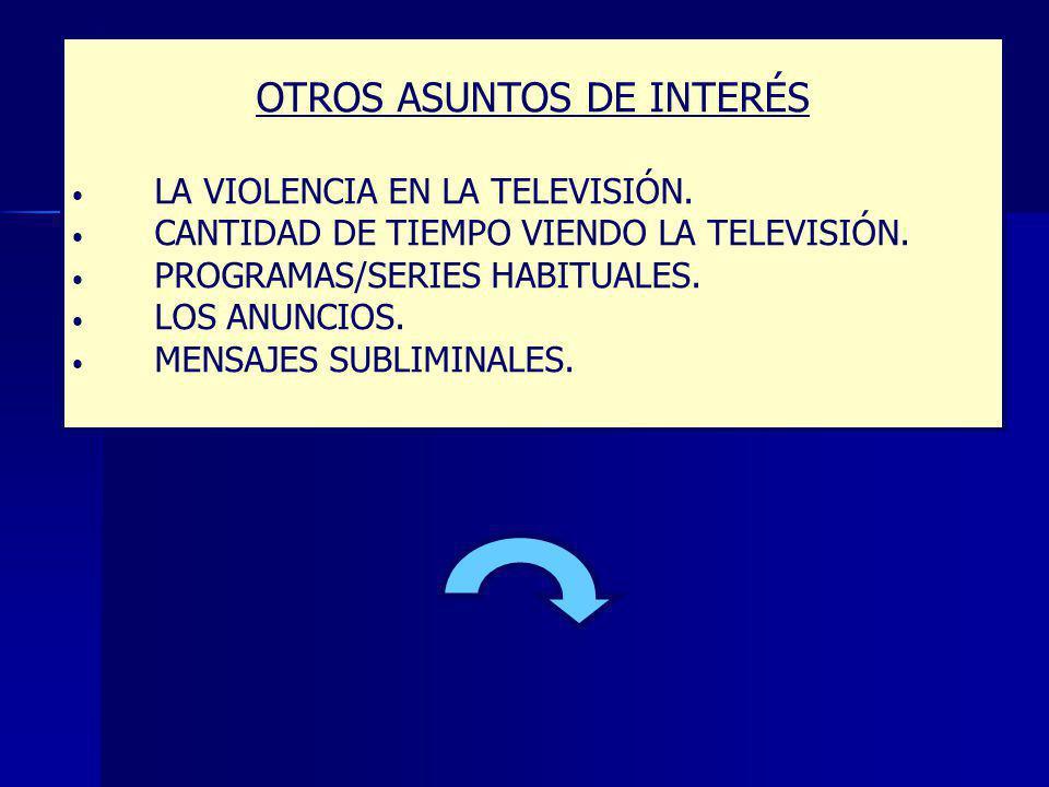 OTROS ASUNTOS DE INTERÉS LA VIOLENCIA EN LA TELEVISIÓN.