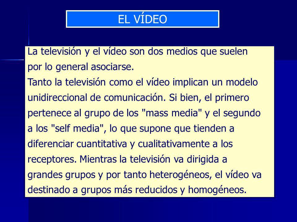 EL VÍDEO La televisión y el vídeo son dos medios que suelen por lo general asociarse.