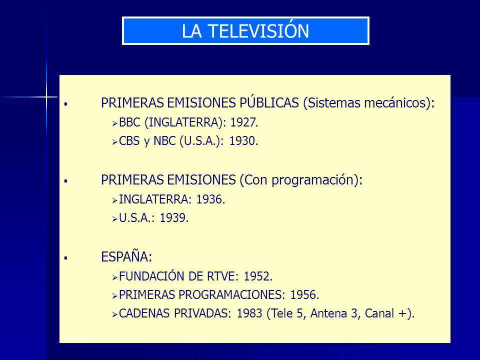 LA TELEVISIÓN PRIMERAS EMISIONES PÚBLICAS (Sistemas mecánicos): BBC (INGLATERRA): 1927.