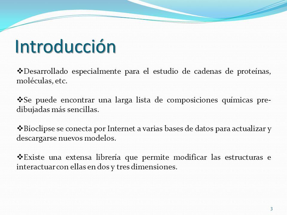 Introducción Desarrollado especialmente para el estudio de cadenas de proteínas, moléculas, etc. Se puede encontrar una larga lista de composiciones q