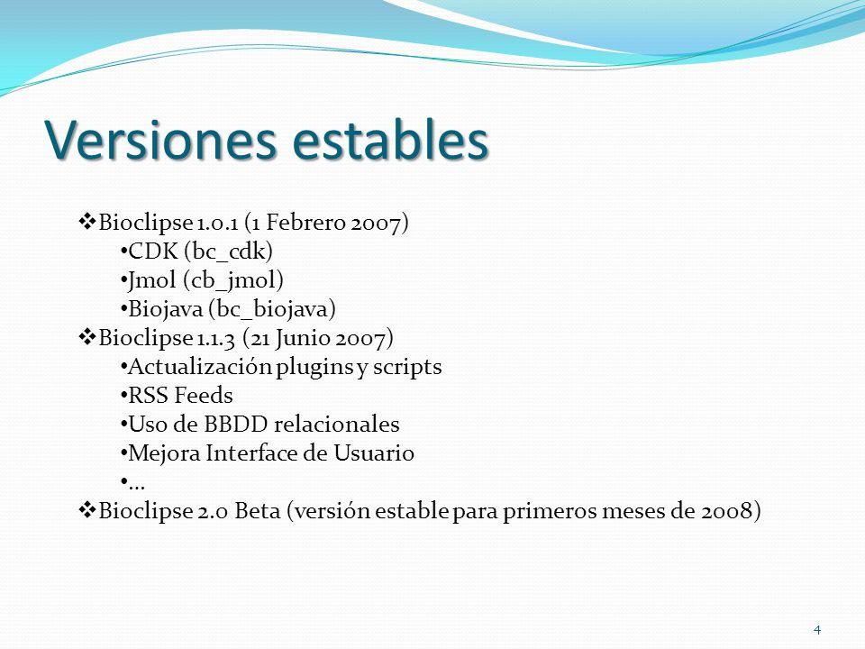 Versiones estables Bioclipse 1.0.1 (1 Febrero 2007) CDK (bc_cdk) Jmol (cb_jmol) Biojava (bc_biojava) Bioclipse 1.1.3 (21 Junio 2007) Actualización plu