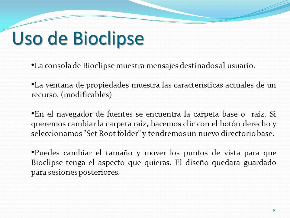 La consola de Bioclipse muestra mensajes destinados al usuario. La ventana de propiedades muestra las características actuales de un recurso. (modific