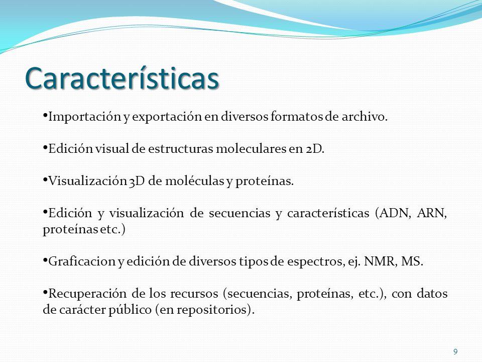 Características Importación y exportación en diversos formatos de archivo. Edición visual de estructuras moleculares en 2D. Visualización 3D de molécu