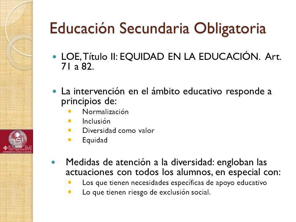 Educación Secundaria Obligatoria LOE, Título II: EQUIDAD EN LA EDUCACIÓN.