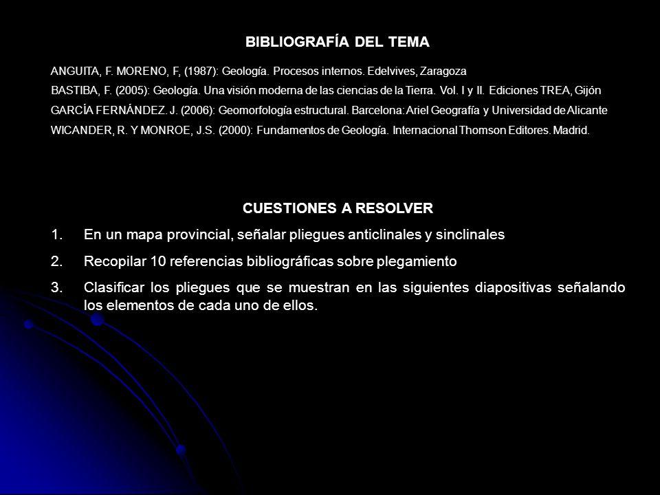 BIBLIOGRAFÍA DEL TEMA ANGUITA, F. MORENO, F, (1987): Geología. Procesos internos. Edelvives, Zaragoza BASTIBA, F. (2005): Geología. Una visión moderna