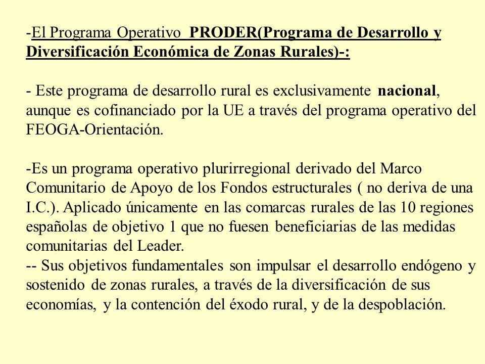 -El Programa Operativo PRODER(Programa de Desarrollo y Diversificación Económica de Zonas Rurales)-: - Este programa de desarrollo rural es exclusivam